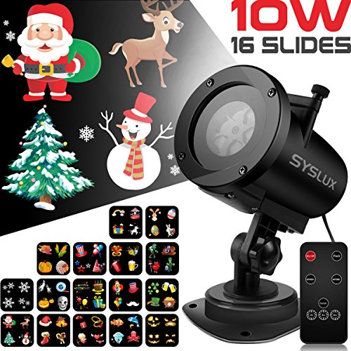 Syslux Halloween Projector Lights, 10W 16 Excluxive Design Slides ...