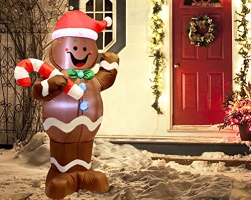5ft self inflatable gingerbread man with candy canes perfect for waving blow up yard decoration indoor outdoor yard garden christmas decoration and - Gingerbread Christmas Yard Decorations