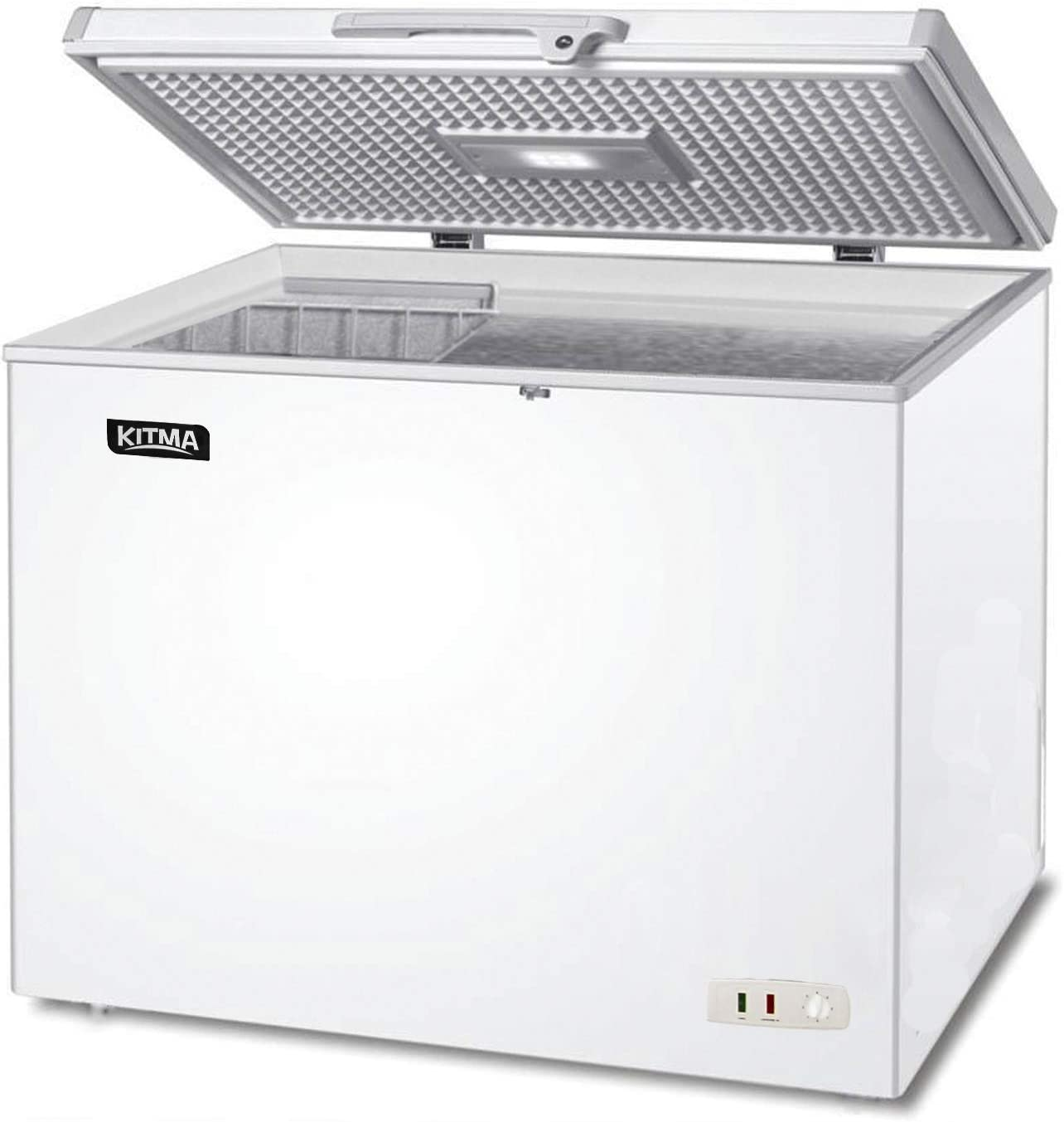 Amazon Com Commercial Top Chest Freezer Kitma 9 6 Cu Ft Deep Ice Cream Freezer With Adjustable Thermostat Compact Refrigerator White Appliances