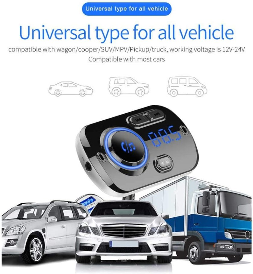Car FM Transmitter, Wireless Adapter Hands-free, With Dual USB Charger, QC3.0 Fast Charging Function, Support SIRI/Google Voice USB, TF Card, AUX Input/Output (Bluetooth 5.0)