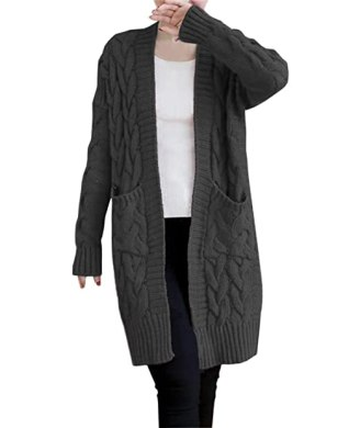 NUTEXROL Women's Open Front Long Sleeve Knit Think Cardigan Chunky Sweater Dark Grey L