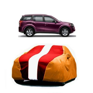 Bull Rider Car Body Cover for Mahindra XUV 500 (with Mirror Pockets- Red&Orange