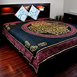India Arts Cotton Full 88 x 106 inches Celtic Tapestry Wall Hanging Thin Bedspread Bed Sheet Tablecloth Throw Beach Sheet Red Black