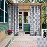 leinuoyi Geometric, Outdoor Curtain of Lights, Comb Design Kikko Tortoise Shell Pattern Western Asian Influences Hexagon Motifs, Balcony Curtains W84 x L96 Inch Grey White