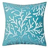 Homey Cozy Embroidery Teal Velvet Coral Island Throw Pillow Cover,Ocean Series Nautical Decorative Pillow Case Coastal Beach Theme Home Decor 20x20,Cover Only