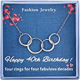 Burning Love Happy 40th Birthday Gifts for Women Sterling Silver Four Interlocking Circles Necklace Pendant Jewelry For Women Four Decades Jewelry Forty Years Old Mothers Day Gifts