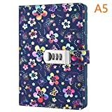 PU Leather Diary with Lock, A5 Size Diary with Combination Lock Password Journal Student Diary Book (Multicolor)