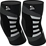 Elbow Compression Sleeves (1 Pair) - Support for Tendonitis Prevention & Recovery - 1 Year Warranty (Large, Grey)