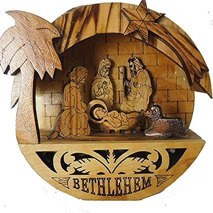 Round Olive Wood Nativity