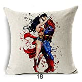 18 X 18 Inch Red Superman Wonder Woman Decorative Pillowcase, Blue Superheros Throw Pillow Cover Comics Themed Cushion Cover Justice League Super Villain, Square Shape Gift for Nerd Fan, Cotton Linen