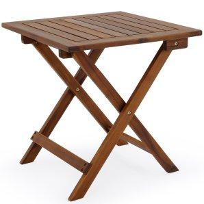 Beistelltisch Klapptisch Holztisch Gartentisch Kaffeetisch Bistrotisch aus Akazienholz 46 x 46cm braun von Deuba