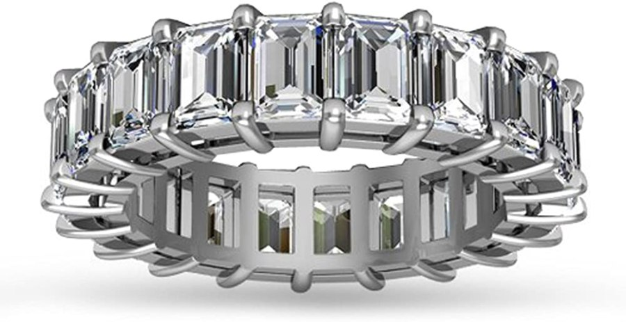 Madina Jewelry 5.00 ct Emerald Cut Diamond Eternity Wedding Band Ring in 14 kt White Gold