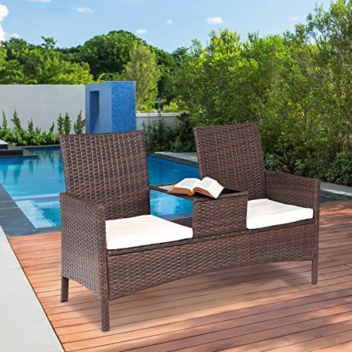 e416996459c TANGKULA Outdoor Furniture Set Paito Conversation Set with Remoable Cushions    Table Wicker Modern Sofas for Garden ...