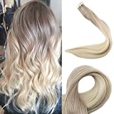 Full Shine 16 inch Ombre Tape In Hair Extensions Color #18 Ash Blonde Fading To #60 White Blonde Double Side Tapes Real Hair Extensions Remy 50gram 20 Pcs
