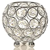 VINCIGANT Silver Crystal Bowl Candleholders Tealight Candle Centerpieces for Wedding Home Party Table Decoration