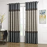 Dreaming Casa Solid Curtains Polyester Window Treatment 2 Tone Stitching Design Luxury Style Grey (1 Panel) 52' W x 96' L
