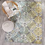 Safavieh Evoke Collection EVK230D Vintage Medallion Damask Grey and Ivory Area Rug (4' x 6')
