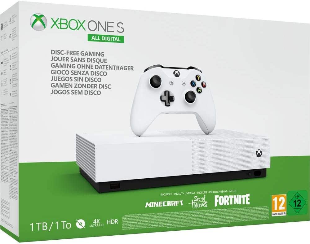 Pack Console Microsoft Xbox One S All Digital 1 To Blanc 3 Jeux inclus (Minecraft + Sea of Thieves + Fortnite)