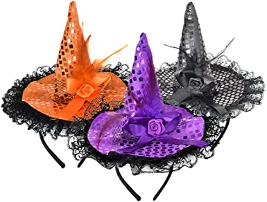 Amazon Com Zeedix 3 Pcs Halloween Witch Feather Hat Headband Cute Witch Headpiece For Halloween Costume Dress Up Masquerade Supplies Orange Purple Black Clothing