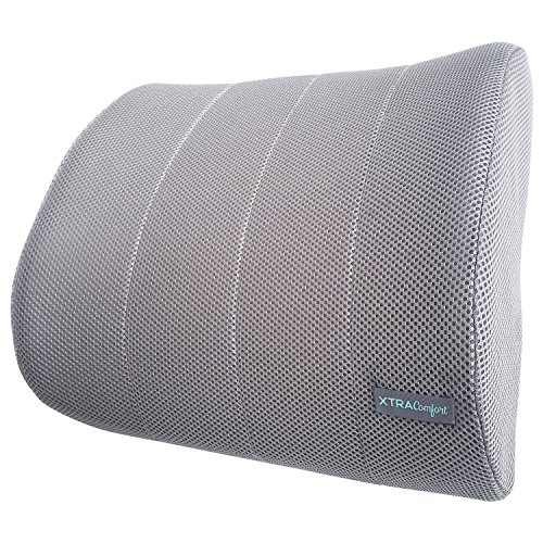 Xtra-Comfort Lumbar Support Cushion - Backrest Seat Pillow for Chair - For Lower Back, Car, Office, Travel, Gaming - Orthopedic Therapeutic Device, Plus Strap - Firm Foam Roll Ergonomic Low Rest Pad
