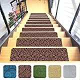 Indoor Stair Mats | Set of 7 | Ultra-Thin Microfiber Stair Carpet with Slip-Resistant Rubber Backing to Reduce Slipping Risk | Quick and Easy to Install (9'x26') (Brown)