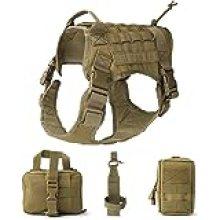 UKCOCO Chaleco de servicio táctico para perro, resistente al agua, cómodo arnés de patrulla militar, con bolsa de deporte y bolsa de viaje