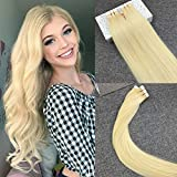 Reysaina 24' Skin Weft Tape in Hair Extensions #613 Bleach Blonde Straight Human Hair Remy Glue in Hair Extensions 20pcs/50g
