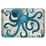 Uphome Sea Theme Memory Foam Bath Mat Blue Octopus Rubber Non Slip Bathroom Rugs Velvet Foam Coastal Navigation Map Bath Rug for Shower Floors, Summer Ocean Life Bathroom Decorations, 20x32
