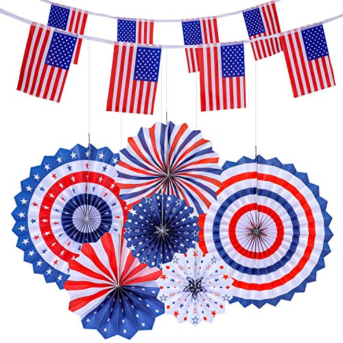 VOICE PLAYER 4th of July Patriotic Decorations - 6 Hanging Paper Fans and 2 American Flag Banners(40 USA Flags), Independence Day Red White Blue Decro, USA Theme Party Decor Supplies