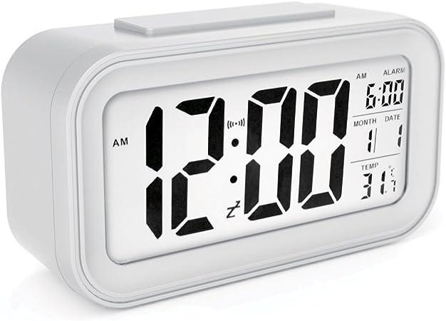 Sin Mi Alarm Clock Large Led Display Digital Alarm Clock Snooze Activated Night Light Features White Amazon Co Uk Kitchen Home