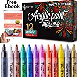 Paint Pens for Rock Painting, Ceramic, Porcelain, Glass, Wood, Fabric, Canvas. Set of 12 Acrylic Paint Markers Medium Tip