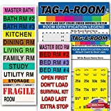 Tag-A-Room Color Coded Home Moving Box Labels with Door IDs, 1000 Count Moving Stickers, Moving Supplies