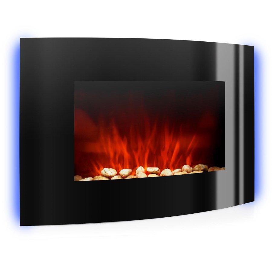 Klarstein Lausanne elektrischer Kamin E-Kamin Kaminofen (Flammensimulation, LED, geräuscharm, 1000W oder 2000W Leistung, Dimm-Funktion, Fernbedienung, Wandmontage, Glas-Front) schwarz