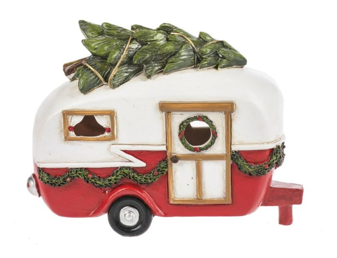 Table Top Light Up Red Christmas Camper. Here are some of the best Vintage Christmas Decor Ideas I've found this year. #AbbottsAtHome #ChristmasDecor #ChristmasIdeas