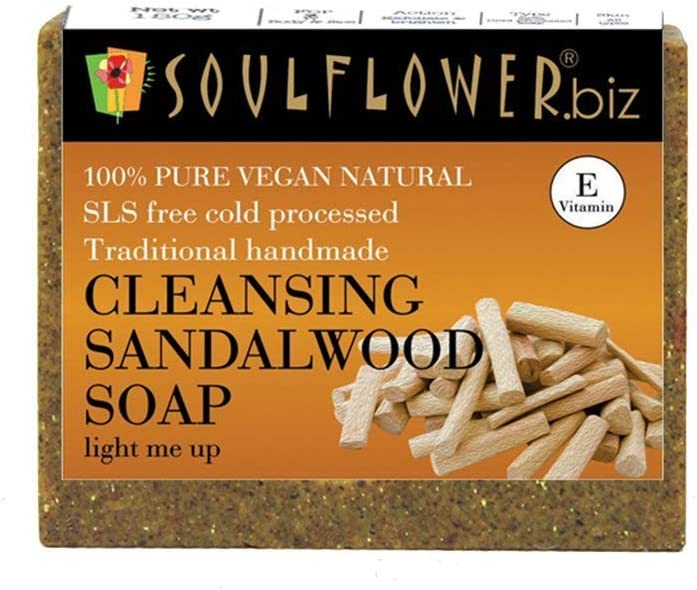 Soulflower Cleansing Sandalwood Soap, 150g Pure Natural & Coldprocess Scrub for glowing & clear skin