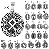 Courage Rune Amulet Oval Charms Necklace Making Norse Viking Runes Collection Double Side Charms Pendant [Leather Rope Presented] (24pcs/Pack(Whole Runes Set))