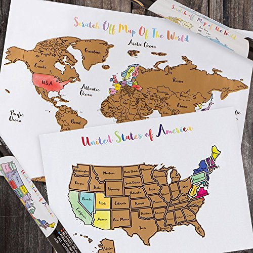 USA + World Scratch-Off Map Bundle - Includes 2 Individual Watercolor  Pastel Travel Tracker Maps (United States & World) - Track Countries + US  States ...