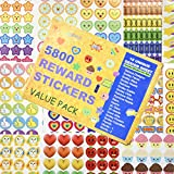 5800 pcs Teacher Stickers for Kids, Reward Stickers Mega Variety Pack, Incentive Stickers for Teacher Supplies Classroom Supplies, 18 Design Styles Including 3D Heart, face, Star, owl, Cupcake