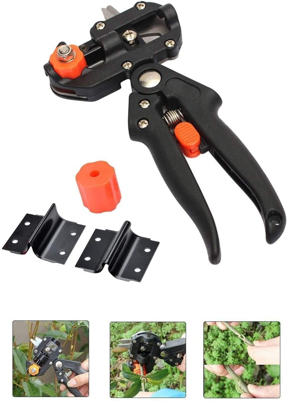 Skypearll 2-in-1 Garden Grafting Tools Pruner Kit, V-Graft Omega-Graft and U-Graft Blades, Grafting Knife Prune Shear Snip Use for Garden Plant Branch Vine Fruit Tree with Replaceable Blades (Black)