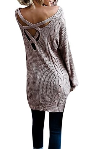 Chuanqi Women's V Neck Criss Cross Sweater Slouchy Oversized Cable Knit Sweater Dress