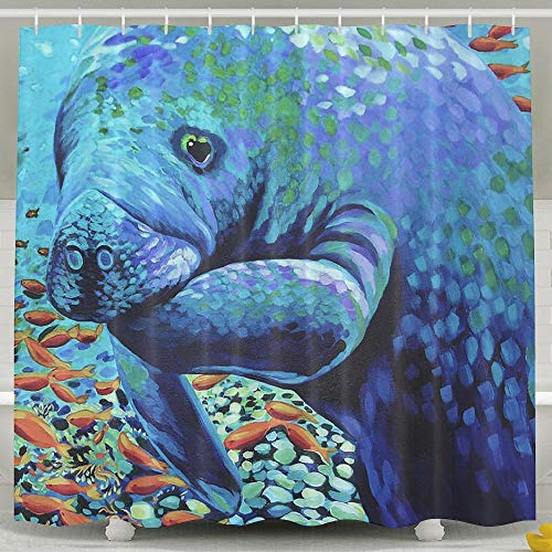 Water-Repellent Shower Curtain Affordable Manatees Shower Curtain 100% Polyester Fabric 70' X 72'