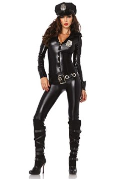 Leg Avenue 4 Piece Officer Payne Lame Police Jumpsuit Costume, Black, Medium