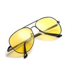 HD Night Vision Glasses for Comfortable Driving Yellow Lens Aviator Nighttime Sunglasses (Black / Yellow)
