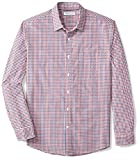 Amazon Essentials Men's Regular-Fit Long-Sleeve Casual Poplin Shirt, Blue/Red Gingham, Medium