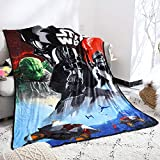 FairyShe Cartoon Plush Sheet for Boys, 60' x 80' Fleece Soft Warm Throw Blanket for Bed Couch Chair Fall Winter Spring Living Room(Star Wars)