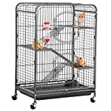 Yaheetech 37'' Metal Ferret Cage Indoor Outdoor Small Animals Hutch w/ 2 Front Doors/Feeder/Wheels for Large Rat Squirrel Guinea Pig Chinchilla Sugar Glider,Black