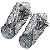 Drasry Crab Trap Bait Lobster Crawfish Shrimp Portable Folded Cast Net Collapsible Fishing Traps Nets Fishing Accessories Black 23.6' x 11.8' (60cm x 30cm) (2 PCS)