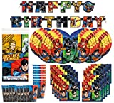 DC Comics Justice League Superheros Birthday Party Supplies Pack Bundle serves 16 ; Plates, Cups, Napkins, Banner, & Table Cover
