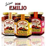 "3 pack Salsas ""Machas"" Don Emilio 9 oz (Morita, Arbol, Garlic), made in México"