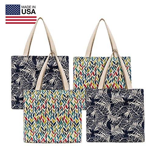 Planet E Reusable Canvas Tote Bags – Made In USA Fashionable Perfect for Shopping or Groceries (Pack of 4)